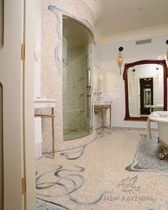 Art Nouveau shower and floor | New Ravenna Mosaics