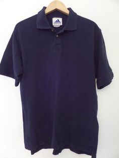 ADIDAS Men's Shirts Size-M Blue 100% Cotton Very Good!  #Adidas #PoloRugby