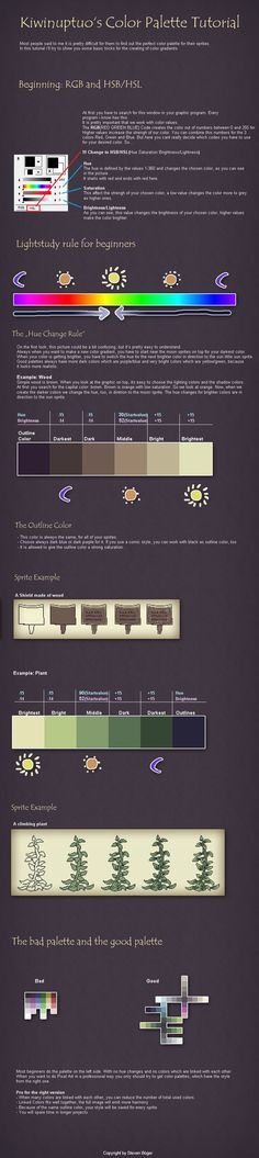 Pixel Art Tutorial - Colors by Kiwinuptuo.deviantart.com on @deviantART:
