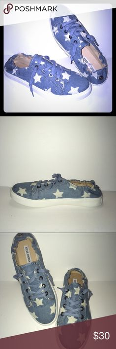 New Steve Madden Canvas Sneakers Size 10 Never worn. Blue with white stars. Lace up and elastic closure in the back end of sneakers. Slip on style. New without Box. Steve Madden Shoes Sneakers