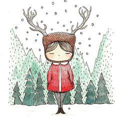 Scandi, Deer, Girl, Illustration, Children, Kids, snow
