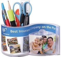 Caddy/Apothecary Desk Wave Pen Pencil Holder. Second side imprint for increased exposure at no additional cost. Made in USA! Sectioned organizer caddy for pens, pencils, markers, etc. Also fits cell phone and business cards. Insert your favorite photo. Holds your favorite edibles clips, elastics