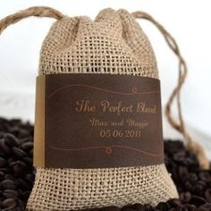 this is cute ~ Burlap coffee bags as gifts for guests!