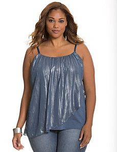 Foiled overlay plus size tank top blue metallic top #UNIQUE_WOMENS_FASHION
