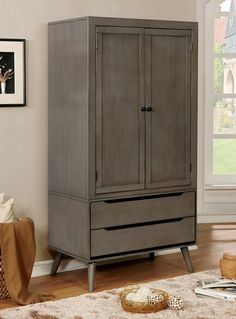 Lennart collection mid century modern gray finish wood clothing armoire stand alone closet cabinet. Features upper clothes cabinet and two lower drawers. Some assembly required. Clothing Armoire, Clothes Cabinet, Wood Clothing, Bedroom Furniture, Modern Furniture, Bedroom Decor, Eclectic Furniture, Design Bedroom, Furniture Decor