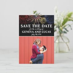 Fireworks Sky Fourth of July Wedding Save The Date July July Wedding, Rose Wedding, Elegant Wedding, Personalized Invitations, Zazzle Invitations, Wedding Save The Dates, Save The Date Cards, Unique Office Supplies, Wedding Fireworks
