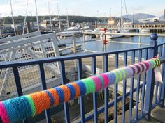 Yarn bombed banister at Rothesay harbour, welcoming people to Bute for the September weekend Yarn Bombing, September, Fabric, People, Tejido, Tela, Fabrics, Folk