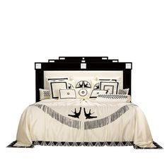 Masque de Femme bed | Numbered edition, clear crystal, ivory silk and black lacquered, medium size | Bed Lalique
