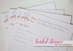 DIY, Do It Yourself, Bridal Shower Recipe Cards, Bridal Shower, Recipe, Cards, Sticker, make, print