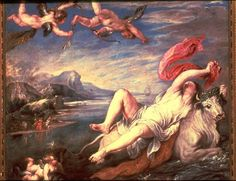 """Rape of Europe"" (1559-62), oil on canvas  by Titian (Italia)"