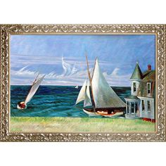 La Pastiche Edward Hopper 'The Lee Shore, 1941' Hand Painted Framed Oil Reproduction on Canvas