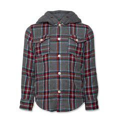 camisa de franela a cuadros con capucha de algodón de AO 76 (antes American Outfitters)