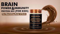 BRAIN POWER & IMMUNITY PROTEIN MIX (FOR KIDS): For Nourishing Body & Brain Protein Mix, Brain Activities, Chocolate Flavors, Ayurveda, Herbalism, Organic, Health, Youtube, Kids