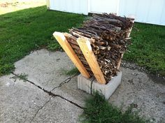 Easy Firewood Storage Using Cinder Blocks