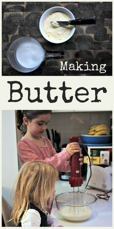 Make your own butter buttermilk from cream, and witness food science in your kitchen! Learning about where our food comes from, and how we can one food type into another, is a great edible science activity for kids! From Go Science Kids. Science Projects For Preschoolers, Science Activities For Kids, Preschool Science, Food Science, Preschool Activities, Indoor Activities, Easy Science Experiments, Science Lessons, Kitchen Science