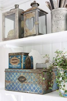 Metal tins shabby chic rustic french country decor idea