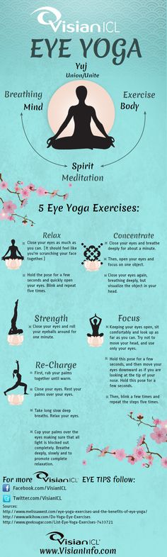 It's important to exercise your eyes regularly to strengthen and relax them just as you would exercise any other part of your body. Take a look at this info-graphic which shows 5 easy eye yoga exercises that will help relax and strengthen your peepers!