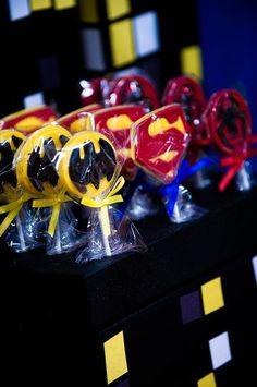 Superhero Chocolate Lollipops Batman Superman Spiderman Birthday Favors.