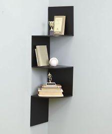 wooden wall hanging shelf Corner Zig Zag shelves Space Saver storage room Decor