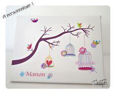 """Tableau à empreintes 40x30 cm """"arbre et cages à oiseaux"""" pour 50 à 70 invités : Décoration pour enfants par instantoile"""
