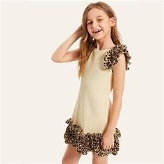 Apricot Contrast Layered Leopard Print Ruffle Girls Dress