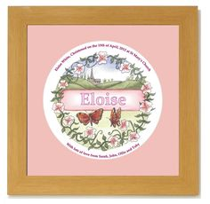 Personalised birthbunny baby girl newborn baby gift httpwww personalised baby gift for babys christening day personalised baby name framed picture with babys name negle Images