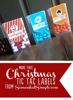 Christmas Tic Tac Labels: Candy Cane Seeds/Red & White, Snowflake Seeds/Blue, Snowman Noses/Orange with Free Printable. Perfect for teachers, co-workers, classmates and stocking stuffers! Homemade Christmas, Diy Christmas Gifts, Christmas Treats, Winter Christmas, Holiday Gifts, Christmas Holidays, Simple Christmas, Happy Holidays, Christmas Ornaments