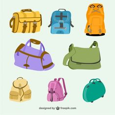 Bags and Backpacks Collection Free Vector