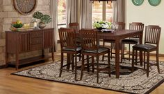 7 pc Dickens collection rich brown finish wood counter height dining table set with vinyl top seats