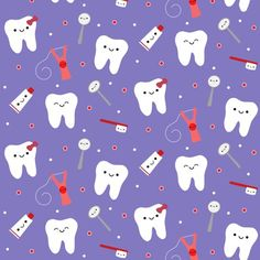 Tooth Fabric - Happy Teeth Friends - Royal Blue By Clayvision - Kawaii Floss Toothbrush Molar Cotton Fabric By The Yard With Spoonflower Dentist Humor, My Dentist, Funny Dentist, Dental Life, Dental Art, Dental Assistant, Dental Hygienist, Dental Wallpaper, Dental Quotes