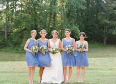 soft blue and beige bridesmaids dresses made by a friend of the bride! // photo by ElisaBPhotography.com