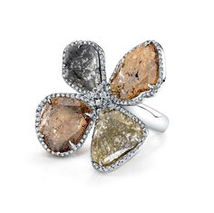 14k White Gold RoseCut Diamond Sliver and White Diamond Ring  NK25674RC-W #diamond #jewelry #ring