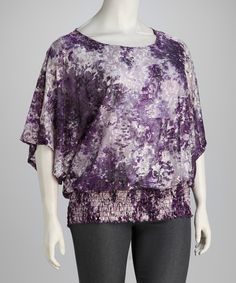 Purple Abstract Plus-Size Smocked Top $18.99