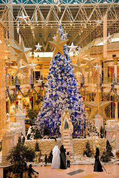 Dubai. Christmas tree at Wafi Mall shopping centre/center, an up market luxurious mall..