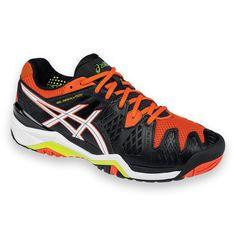 Asics Mens Gel Resolution 6 Black and Orange Synthetic Tennis Shoe
