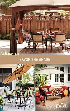 Maximize your patio time in the shade of an umbrella or gazebo. Up the cool factor by complementing outdoor furniture and accessories with a canopy in your color scheme.
