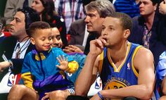 Stephen Curry of the Golden State Warriors, then and now.....  From sitting on court side with his dad as a child now he's a few games away from being NBA champion.. Go Warriors