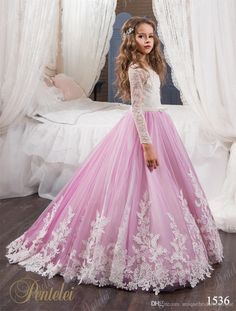 Flower Girls Dresses For Weddings 2017 Pentelei With Long Sleeves And Sweep Train Appliques Tulle Flower Little Girls Gowns Light Purple Ivory Tulle Flower Girl Dress Junior Flower Girl Dresses From Uniquebridalboutique, $82.02| Dhgate.Com