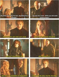 I couldn't stop laughing while watching everyone's reactions to Joffrey's little tantrum. ESPECIALLY Tywin's face haha