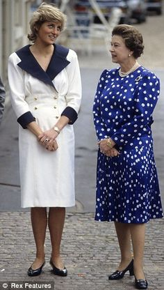 Diana and The Queen at Clarence House, London in 1987.
