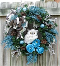 Winter Owl Christmas Wreath in Turquoise Silver and Brown, by IrishGirlsWreaths, $139.99-SOLD!