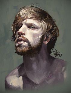 """Guy Dook"" - Mel Milton, Photoshop, 2015 {figurative art illustration man face portrait digital painting #Melmade #dookin} melmade.blogspot.com"
