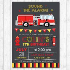 Firetruck Birthday Invitation Firetruck Invite by funkymushrooms