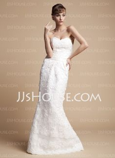 Mermaid Sweetheart Floor-Length Organza Satin Wedding Dresses With Lace Sashes (002011670) - JJsHouse.com