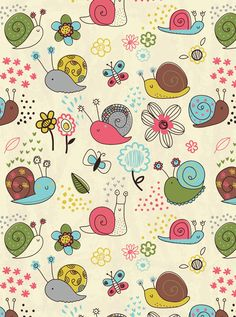 ♡Cute Snails Pattern by Lisa Martin Illustration 2014♡ (Can be used as a Wallpaper).