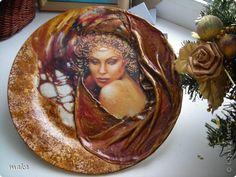 Декор предметов Новый год Декупаж Тарелка подарочная Гламур