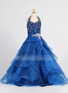 A-Line/Princess Floor-length Flower Girl Dress - Organza Sleeveless Halter With Ruffles/Sequins/Rhinestone (010007648) - JenJenHouse