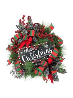 Chalkboard Sign Merry Christmas Wreath by SouthernCharmWreaths Merry Christmas Sign, Green Christmas, Christmas Wishes, Christmas Colors, All Things Christmas, Christmas Crafts, Christmas Decorations, Xmas, Christmas Christmas