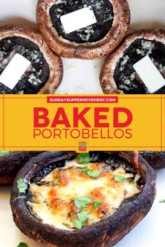 Our Baked Portobello Mushrooms with Cheese are easy to make and stuffed with flavor from garlic, herbs, and a bubbly cheese topping. Easy prep with just 20 minutes of bake time and simple ingredients! #SundaySupper #mushrooms #mushroomrecipe #easyrecipe #easydinner #dinnerrecipe #sidedishrecipe #appetizerrecipe #portobellomushrooms Vegetable Side Dishes, Vegetable Recipes, Beef Recipes, Easy Recipes, Easy Meals, Finger Food Appetizers, Finger Foods, Appetizer Recipes, Supper Recipes
