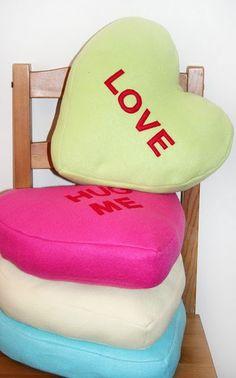 Conversation heart pillows